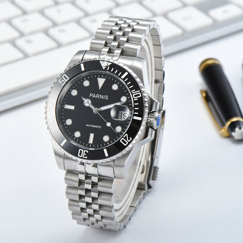 New Parnis 40mm Mechanical Automatic Mens Watch Stainless Steel Bracelet Miyota 8215 Movement Calendar Men Watches With Box Gift