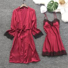 QWEEK נשים משי חלוק שמלת סט קיץ סקסי תחרה הלבשת שמלת פיג מה אלגנטית מזדמן חלוק רחצה