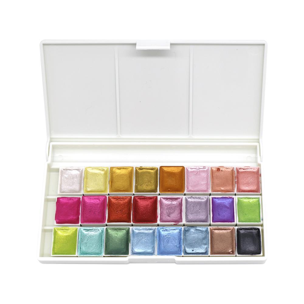 24 цвета жемчужные блестящие акварельные краски в наборе, портативные пигментные однотонные золотые металлические краски, набор палеток дл...