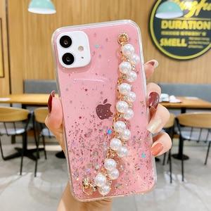 Image 5 - Shiny Glitter Pearl Bracelet Chain Case for Samsung Galaxy A12 A32 A42 A52 A72 A22 A82 4G 5G Coque Soft Silicone Cover