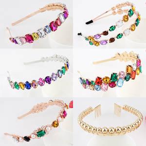 Colorful Gem Baroque Headbands For Women Diamond Hair Accessories Pearl Headband