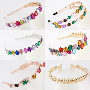 Colorful Gem Baroque Headbands For Women Diamond Hair Accessories Pearl Headband for Girls Crown Flower Hairbands Head Wrap(China)