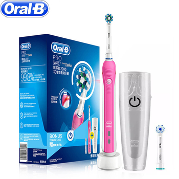 100% Original Oral Pro2000 Pink ToothBrush For Adults with EB60 EB50  TWO Replaced heads