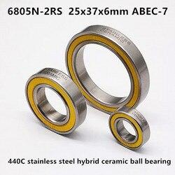 6805N-2RS ABEC-7 stainless steel hybrid ceramic ball bearing 25376 HT2 BB51 bicycle bottom bracket hub repair 25x37x6 mm