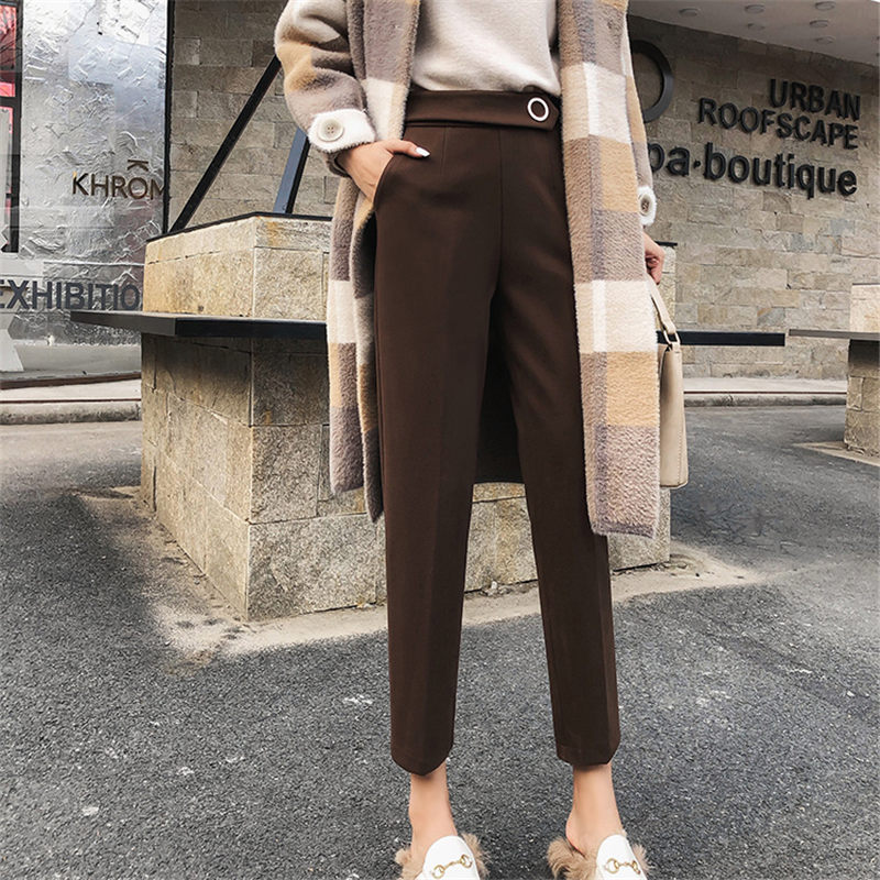 HziriP Autumn Woolen Office Lady Fashion Feminine Pencil Pants Chic All-Match Plus Size High Waist Casual Loose Warm Trousers