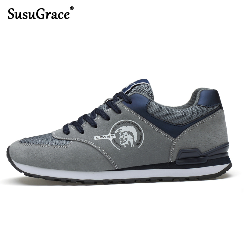 SusuGrace Quality Men Running Shoes Genuine Leather Sneakers Causal Trainers Outdoor Athlete Sport Shoes Non-slip Stylish Flats