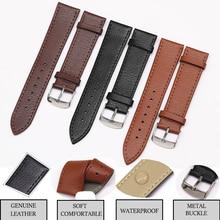 цена Genuine Leather Watch Band Strap for Samsung Gear S3 Galaxy Watch 46mm 42mm Amazfit Bip 14mm 16mm 18mm 20mm 22mm Replacement в интернет-магазинах