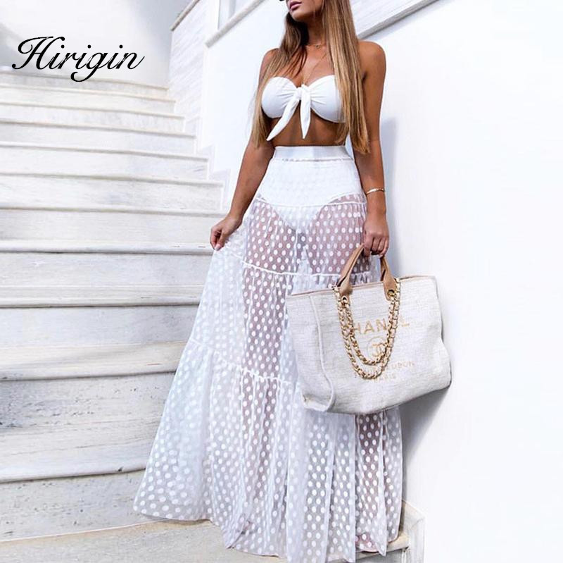 hirigin Women's Sexy See-through High Waist Polka Dot Mesh Skirt Femme Full Length Chiffon Tulle Beach Long Maxi Skirt Summer