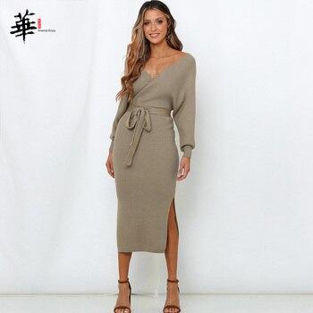 Женское трикотажное платье зимние пикантные туфли на каждый день с длинным рукавом; Модные вечерние плюс Размеры в винтажном стиле; Элегантный свитер платья для женщин 3