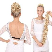 Кудрявый пучок шиньон эластичная Длинная лента пушистая булочка для невесты прическа Модные женские термостойкие синтетические парики вокруг волос