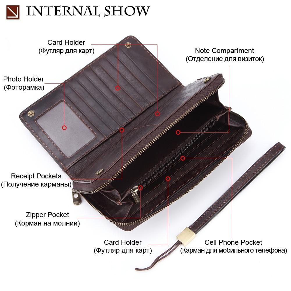 Image 3 - Banlosen Men Cowhide Clutch Wallets Genuine Leather Long Purses  Business Large Capacity Wallet Double Zipper Phone Bag For MaleWallets