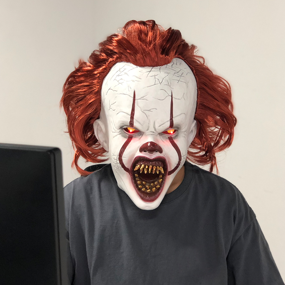 LED Horror Pennywise Joker Mask Cosplay Stephen King It Chapter Two Clown Latex Masks Helmet Halloween Party Props Deluxe New