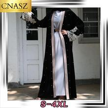 Islamic Robe Abaya Cardigan-Dubai Velvet Turkey-Middle-East Women Beaded Fashion Long-Sleeved