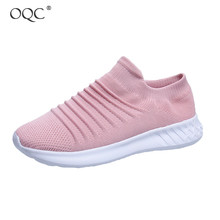 Купить с кэшбэком OQC Women Flying Woven Slip-On Casual Socks Shoes New Comfortable Breathable Sport Shoes Lazy Soft Bottom Casual Mesh Shoes D30
