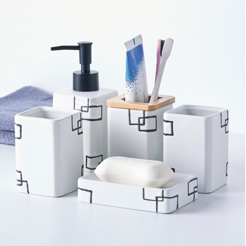Permalink to Bathroom Sanitary Ware Set Ceramic Washing Suite Tooth Brush Holder wash Cup Soap Dispenser Toothbrush Holder Household Articles