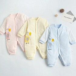 Новинка 2021, Одежда для новорожденных, Осень-зима, комбинезон для маленьких мальчиков и девочек из чистого хлопка с мультяшным принтом, повсе...