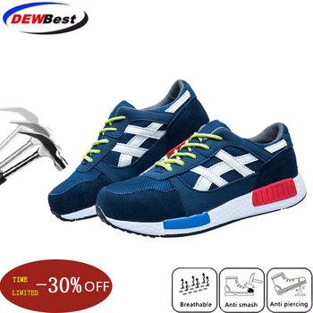 35~46 Men Safety Shoes Steel Toe Work Shoes Flats Casual Protective Footwear Sneaker Protect construction safety Mens work Boots|Safety Shoe Boots| |  -