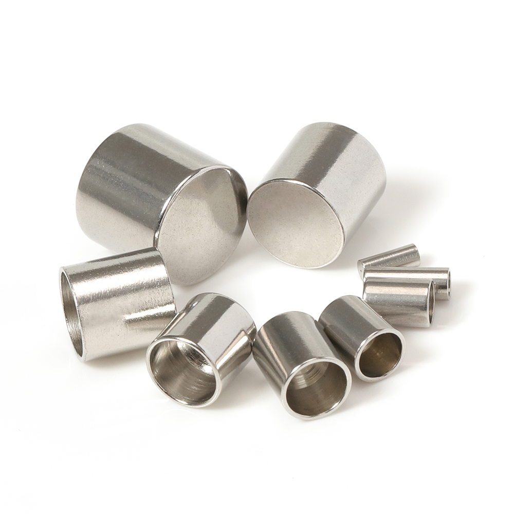 20pcs Stainless Steel Leather Cord Fastener End Caps 2-10mm Crimp End Caps  Round Cap Accessory For DIY Jewelry Making Findings