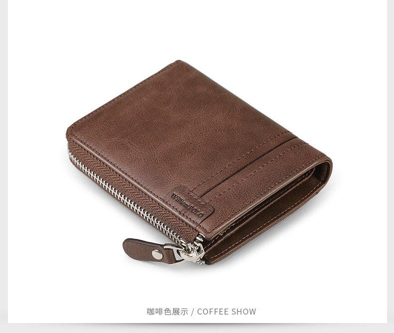 Williampolo completo-grão carteira de couro curto para