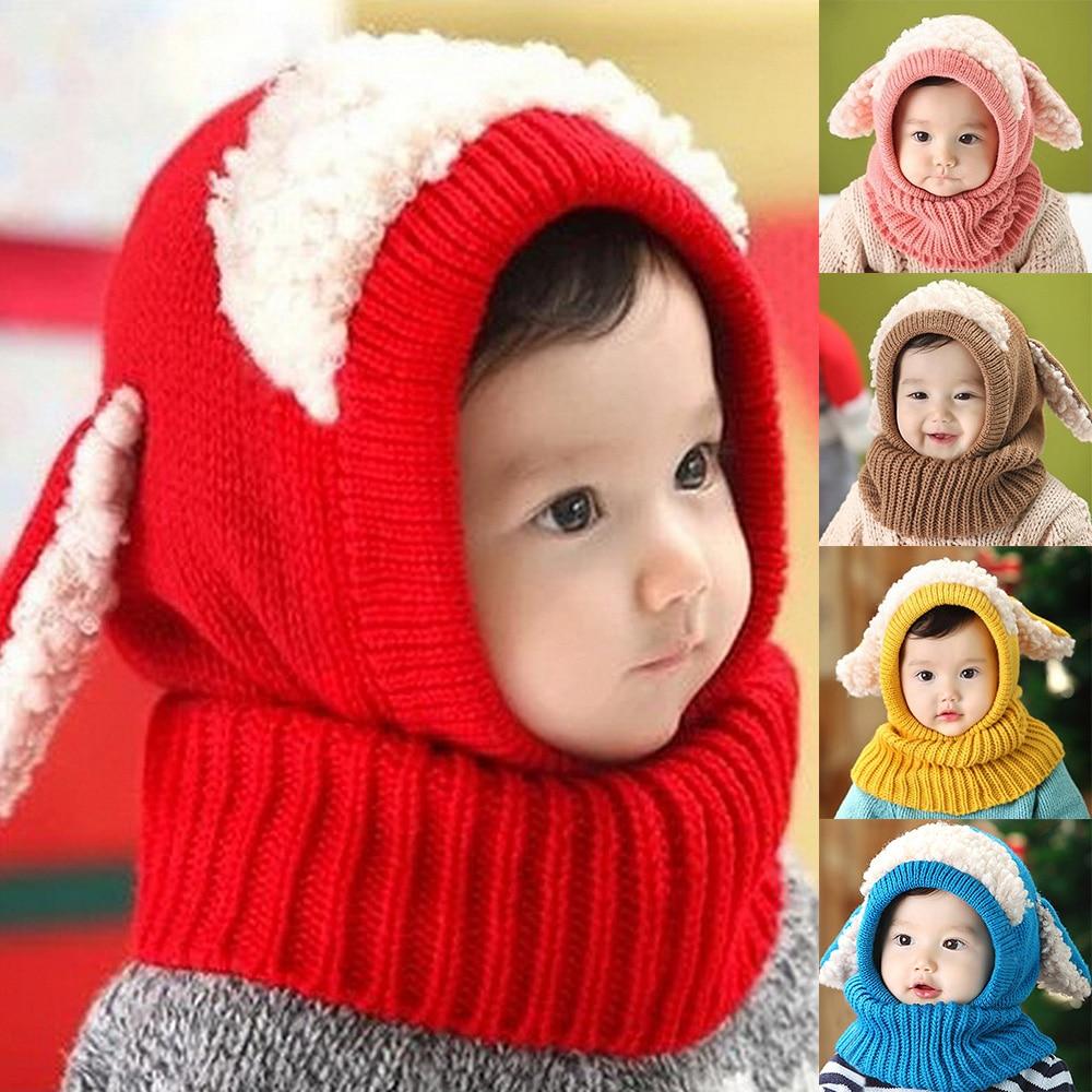 Cute Kids Babies Warm Winter Wool Hat Cap Hood Scarf For Toddler Boy Girl Red