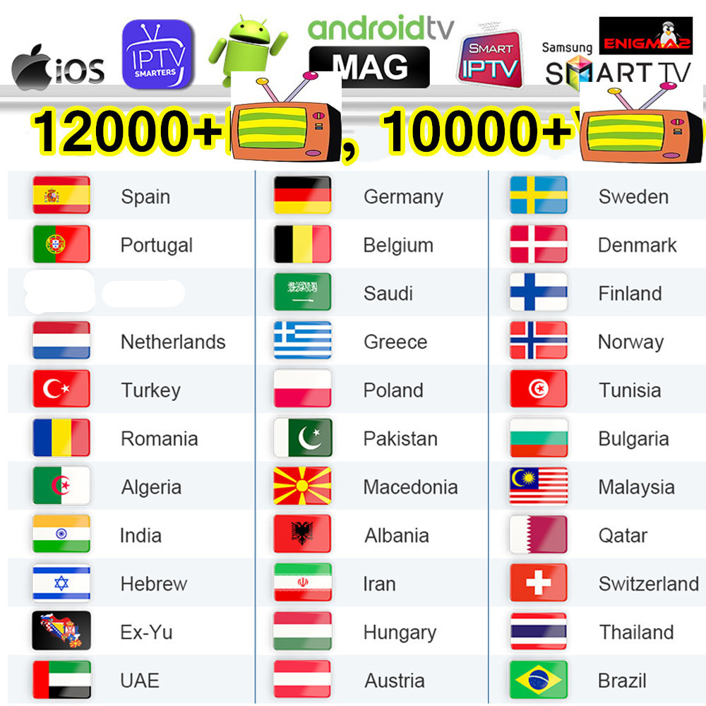 4K Iptv Sweden Smart Iptv Subscripton M3U List Germany Arabic Poland Greek Iptv Spain Portugal Belgium Canada Czech EX-YU Ip Tv