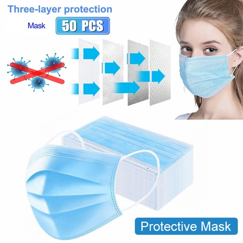 50 PCS NonWoven Thickened protection Masks 3 Laye Thickened Disposable Face masks Mouth Antibacterial Anti-Dust masks