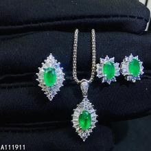 KJJEAXCMY, хорошее ювелирное изделие, серебро 925 пробы, инкрустированное натуральным изумрудом, ожерелье, кольцо, серьги, Модный женский набор, поддержка обнаружения, милый