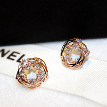 Fashion new Korean zircon  ear nail earrings plated jewelry studs christmas small luxury crystal