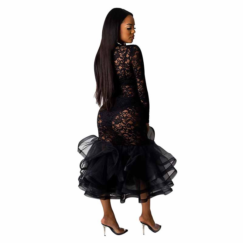 H70f1e161a16044f9ac968b7d05f816e3C - Black Organza Ruffle Sheer Lace Party Dress Spring Mock Neck Long Sleeve Mermaid Evening Gown Maxi Club Party Dress Vestido