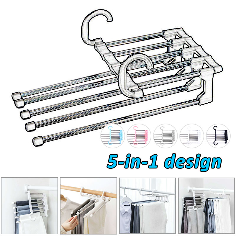 Home Saving Space Pants Hangers For Clothes 5 In 1 Portable Stainless Steel Pants Hanger Clothing Storage Belt Holder