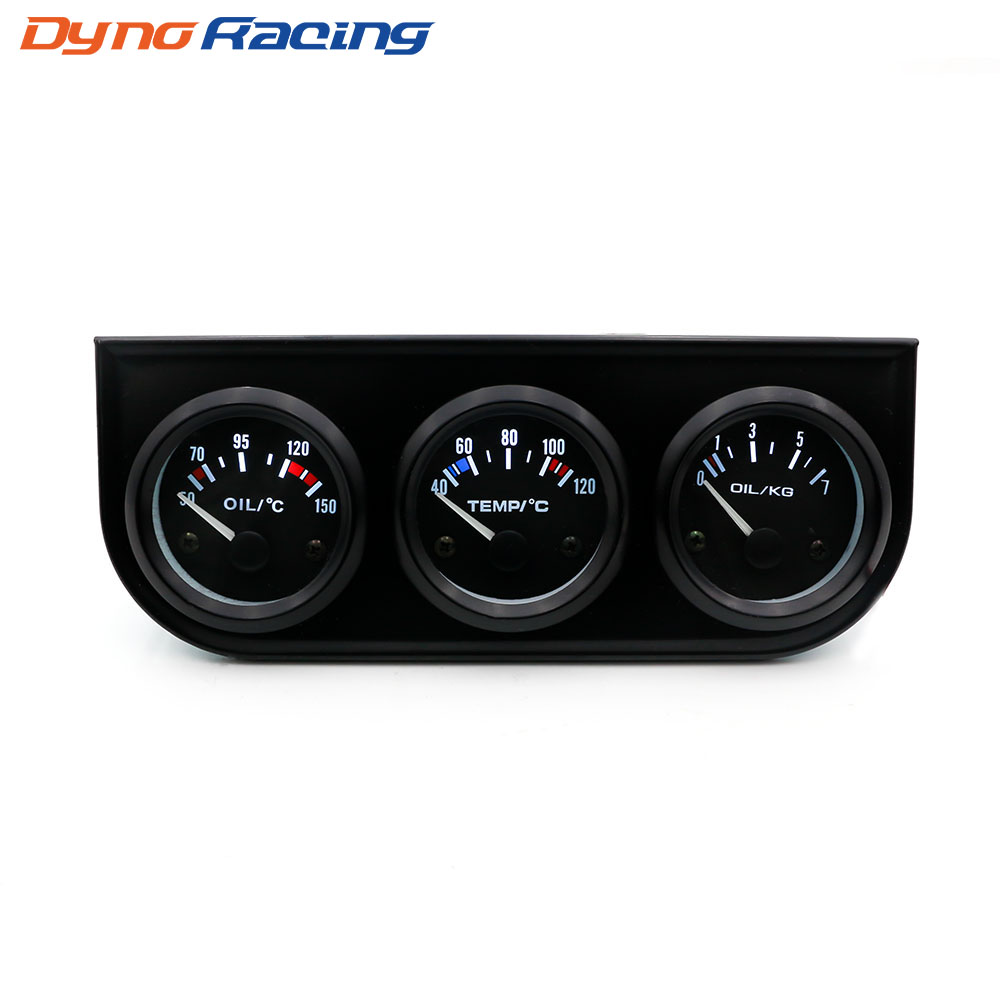52MM 3 In 1 Oil temp gauge Water temp Oil Pressure Gauge Kit Car Meter Triple gauge kit YC101268