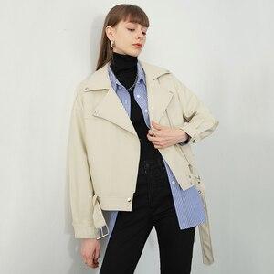 Image 2 - [EAM] 2020 nowa wiosna jesień Lapel długim rękawem moreli Pu skóra luźne duży rozmiar krótka kurtka kobiety płaszcz moda fala JX445