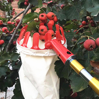 Creative Fruit Picker Hand Tool Device Yard Red Metal Outside Farm Gardening Fruit Catcher Collector