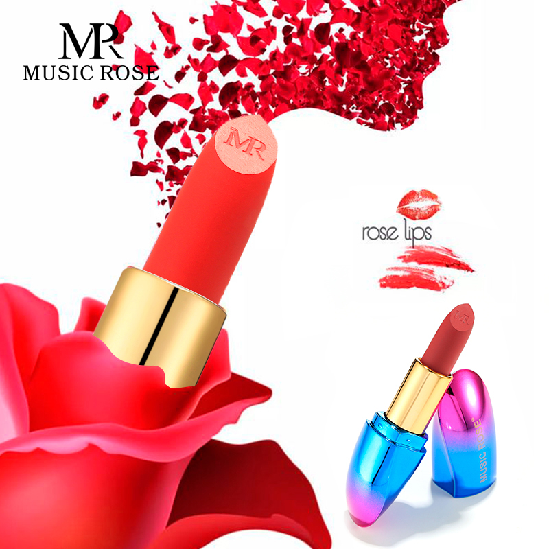 Musique ROSE 2019 Europe et amérique femmes soyeux mat rouge à lèvres maquillage velours mat Surface facile à porter imperméable à l'eau teinte des lèvres cadeau