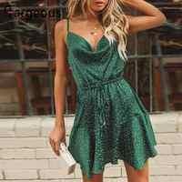 Fargeous vintage verde polka dot mancha vestido feminino 2019 verão sexy cinta sem costas vestido curto menina elegante vestido de festa