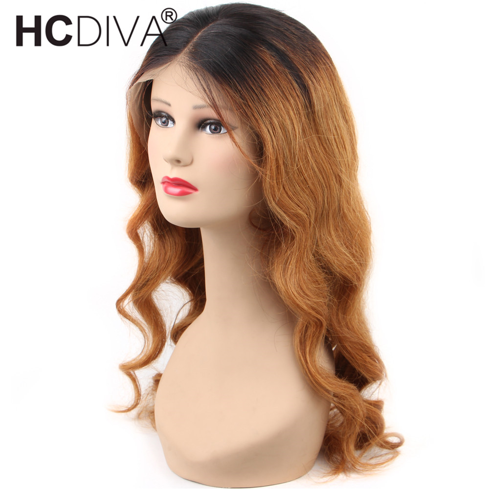 Ombre 1B/27 Lace Front Human Hair Wig With Baby Hair Brazilian Body Wave Remy 13*4 Lace Front Wig Colored Human Hair Lace Wig
