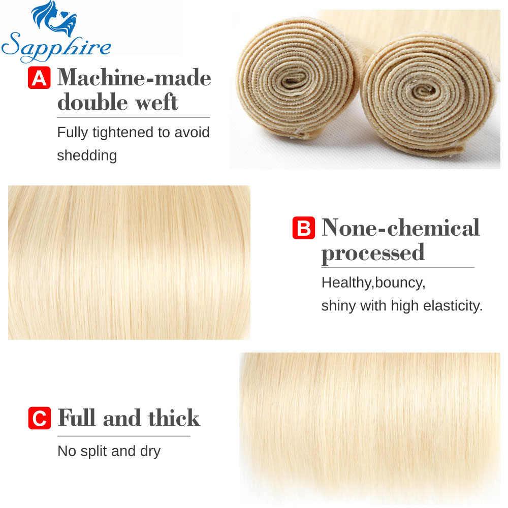 Sapphrie 613 mel loira pacotes com fecho brasileiro remy cabelo humano em linha reta 613 pacotes com fecho frete grátis