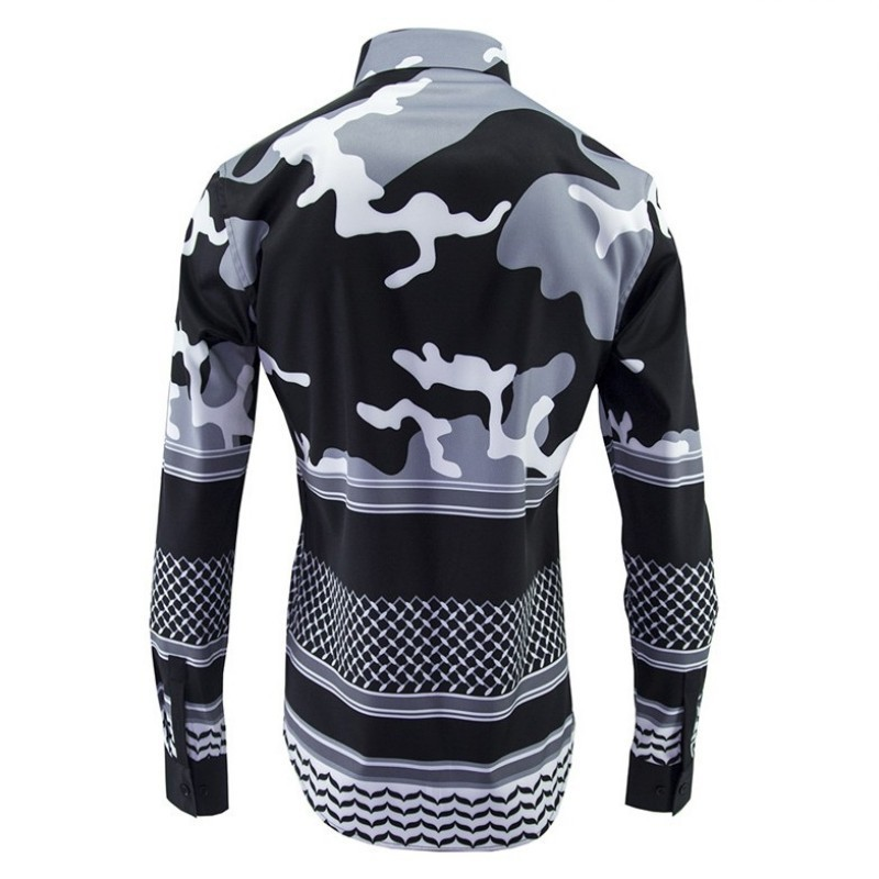 High Quality Mens Casual Camouflage Long Sleeve Shirts Business Office Work Slim Fit Printed Fashion Shirt Tops Camisa Hombre
