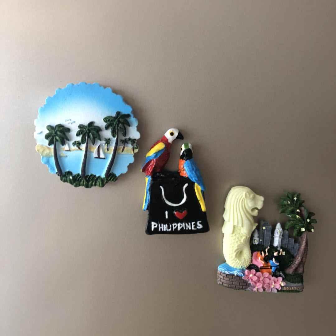 3D Resin Magnet Kulkas Singapore Indonesia Perjalanan Souvenir Magnet Kulkas Sea View Pesan Stiker Dekorasi Rumah Hadiah