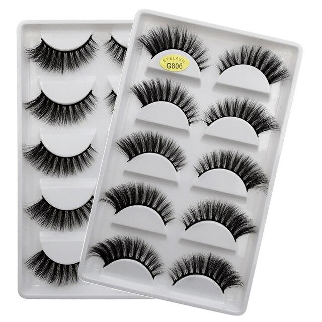 SHIDISHANGPIN 5 pairs eyelashes 3d mink lashes natural long 1 box mink eyelashes 1cm-1.5cm 3d false eyelashes full strip lashes 3