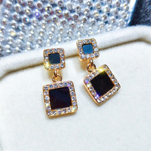 Geometric Earrings Statement Fashion Za 2019 Black Crystal Square Round Drop Earring Gold Color Wedding Party Jewelry Wholesale