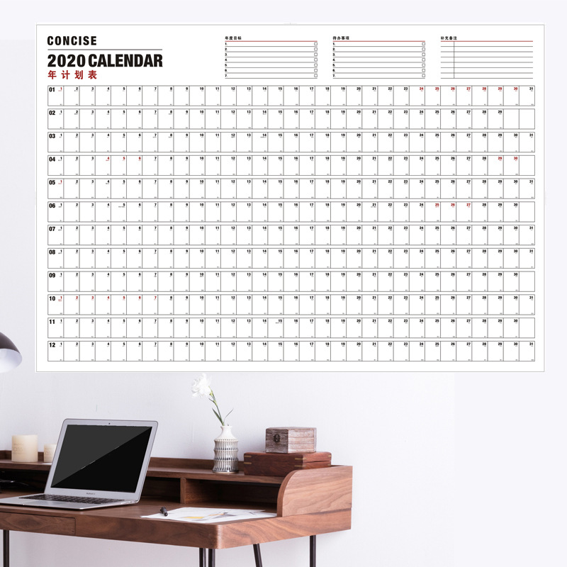 2020 Extra Big Wall Calendar Yearly Daily Planner Desk Planner Agendar Office Home Use
