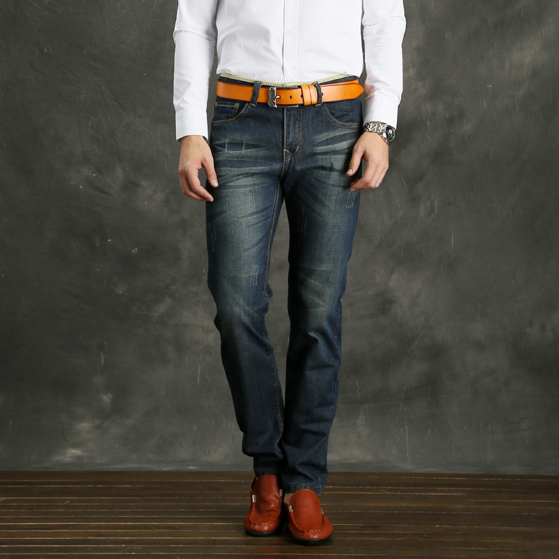 Ozhouzhan New Style MEN'S Jeans Western Style Trend Of Fashion Large Size Straight Slim Catch Pattern Jeans Men's