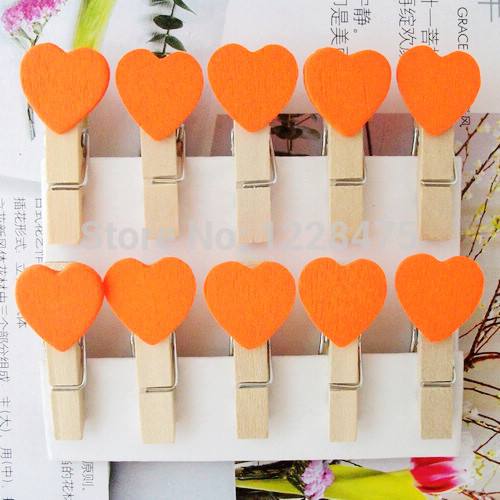 10pcs/Lot  Orange Color Heart  Special Gift  Wood Clips Bag Clip Paper Clip  Wooden Pegs For Wedding