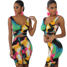 Two Piece Set Women Tracksuit 2019 Summer Ladies Sexy Printed Sleeveless Tank Top And Shorts Tie Dye Matching Sets