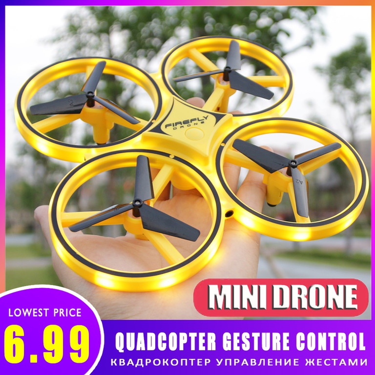 Mini Drone Flying Ball Quadcopter Induction Packet Drone Smart Watch Remote Sensing Gesture UFO Noctilucent Interaction  RC Toys
