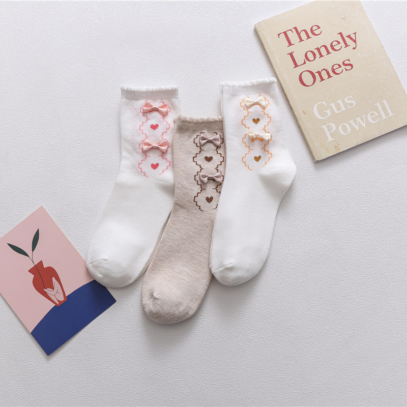 2020 Spring And Summer New Bubble Mouth Lace Socks Cute Bow In Tube Socks Girl Lolita Socks