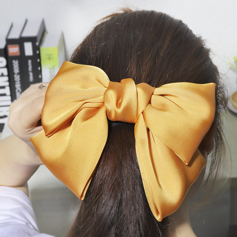around yellow Plastic ribbon Accessorie girl HAIR Barrette clip on PIN bow