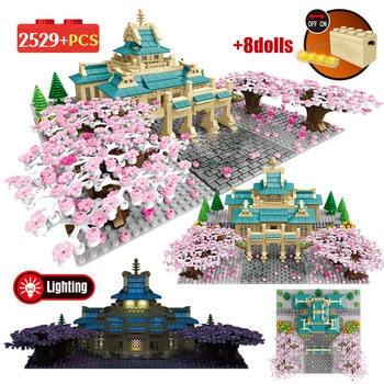 2529PCS City Street View Tree House Flower Architecture Bricks Takeda Cherry Season Model Building Blocks Toys for Girls Kids