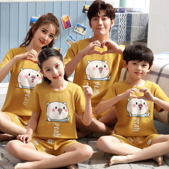 Jia Ju Service Net Grant New Style QD Pure Cotton Crew Neck Parent And Child Pajamas Childrenswear Couples Short Sleeve Shorts C